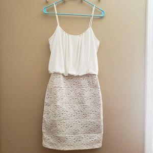Ivy/nude lace adjustable straps dress